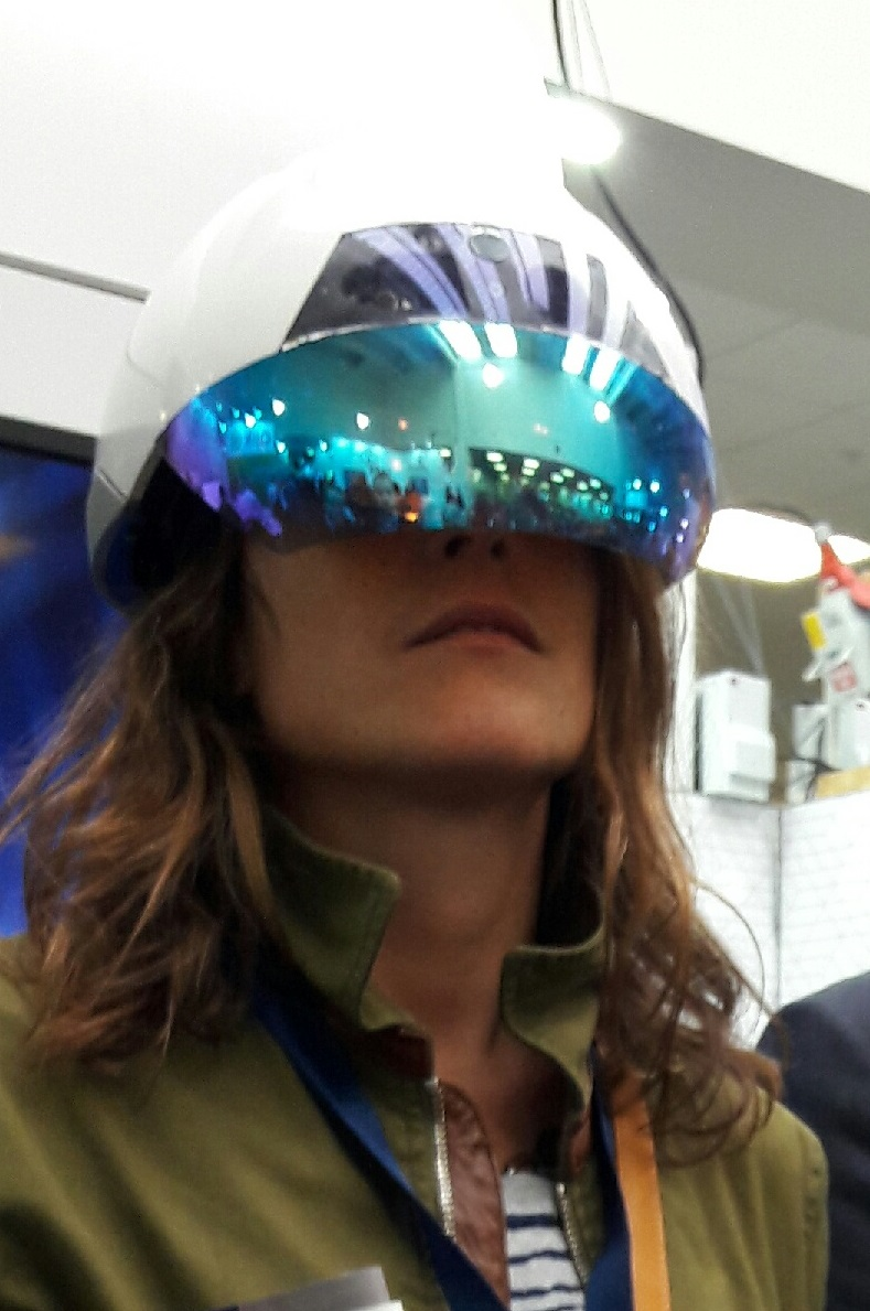Holly Stockbridge, Product Development Manager, ENGIE UK, testing out a Virtual Reality solution for the services indsutry